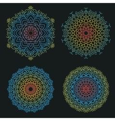 Mandala flat set vector image