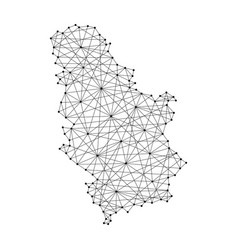 Map of serbia from polygonal black lines and dots vector