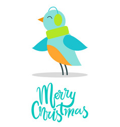 merry christmas greeting card tiny bird earpieces vector image