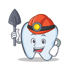 Miner tooth character cartoon style vector