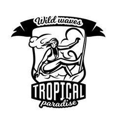 Monochrome logo emblem girl surfer surfing on vector