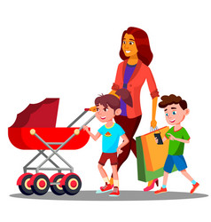 mother walking with a baby stroller vector image