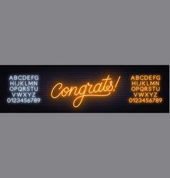 Neon sign congrats a dark background vector