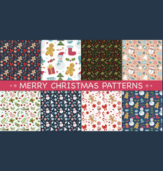 New year and christmas patterns vector