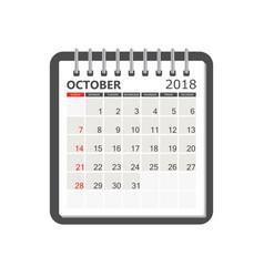 october 2018 calendar calendar notebook page vector image