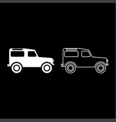 Off road vehicle icon set white color flat style vector