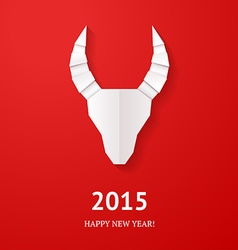 Origami goat on red background vector image