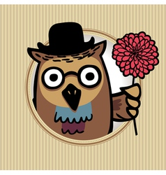 owl with flower vector image