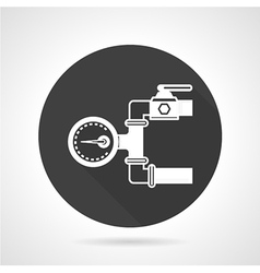 Pipeline gauge black round icon vector
