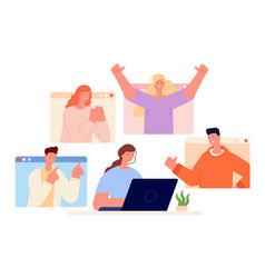 positive support woman work online good gestures vector image
