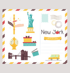 Postcard with famous new york destinations symbol vector
