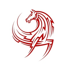 Powerful tribal red horse vector