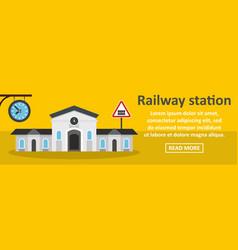 Railway station banner horizontal concept vector