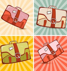 Retro Suitcase Set on Vintage Background vector