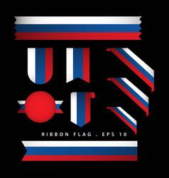 Russia ribbon flag template design vector