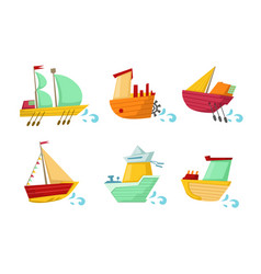 set colorful wooden ships with cute faces vector image