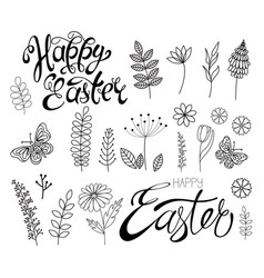 set flowers and grass calligraphic happy easter vector image