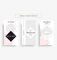 Set marble stories template three banners vector