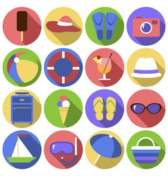 Set of circles icons Flat travel objects vector image