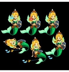 Set of six mermaids with precious staffs vector