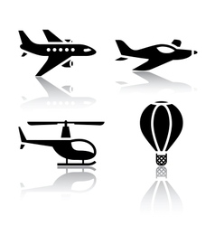 set transport icons - aircrafts vector image