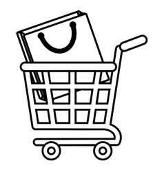 Shopping cart online bag gift outline vector