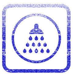 Shower framed textured icon vector
