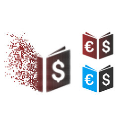 Shredded pixel halftone currency book icon vector