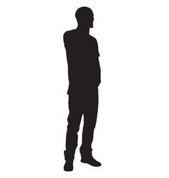 Silhouette a man facing to right on white vector