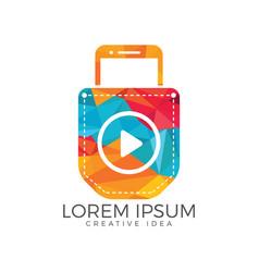 smart phone in pocket video mobile design vector image
