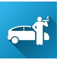 Smoking Taxi Driver Gradient Square Icon vector