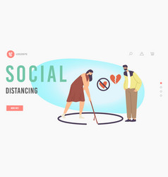 Social distancing landing page template woman vector