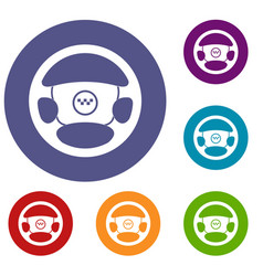 steering wheel of taxi icons set vector image
