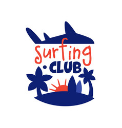 Surfing club logo surf retro badge with palms vector