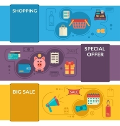 Three horizontal banners with shopping icons in vector image