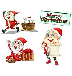 Three smiling Santas vector image