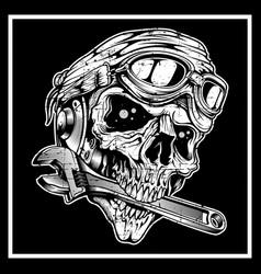 Vintage grunge style skull skull bites the vector