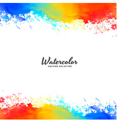 Watercolor frame background in bright colors vector