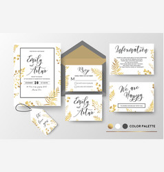 Wedding invite invitation thank you rsvp label vector