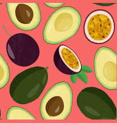 Whole fresh avocado and half and passion fruit vector