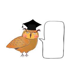 wise owl in graduate cap and speak buble vector image