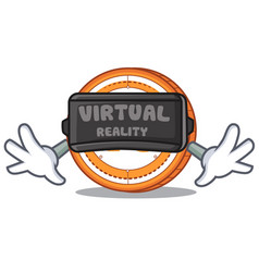 With virtual reality veritaseum coin mascot vector