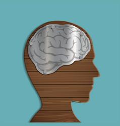 wooden human head vector image