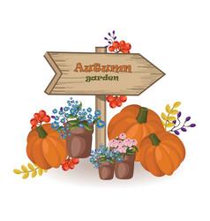 autumn garden decor wood sign pumpkin and vector image vector image