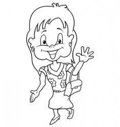 girl in summer dress vector image