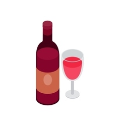 Glass and bottle of wine icon isometric 3d style vector image
