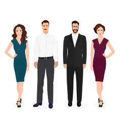 Handsome young guys man with beautiful girls woman vector image vector image