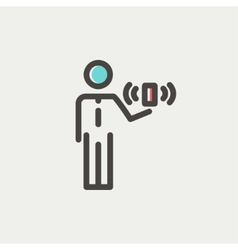 Man and wireless signal thin line icon vector image vector image