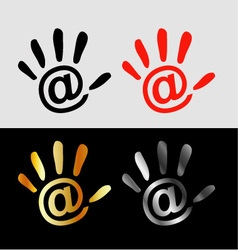 Palm with at sign- business logo vector image