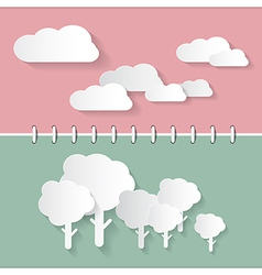 Retro Paper Clouds and Trees on Notebook vector image vector image